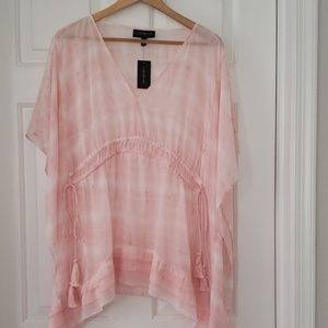 Pink & White Marbled Poncho Top